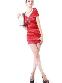 robe de cocktail rouge sexy épaule dénudé