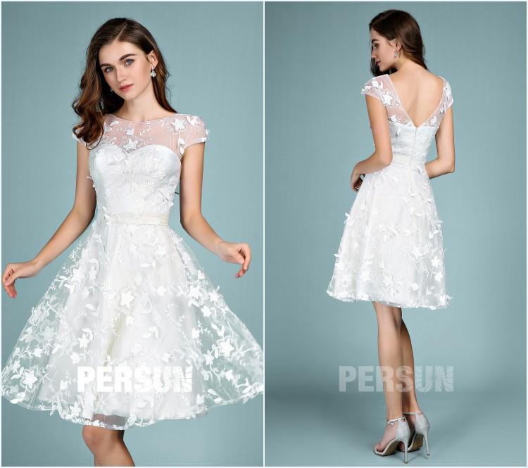 robe de cocktail courte blanche 2019 avec dentelle fleurie