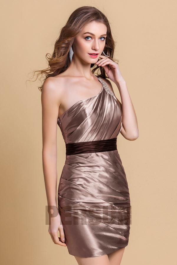 robe de cocktail champagne fourreau asymétrique plissé