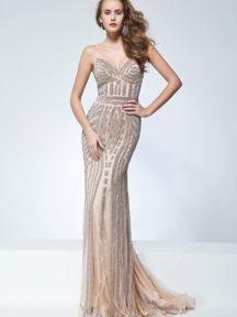 robe de soirée sirène dorée en sequin avec bretelle fine