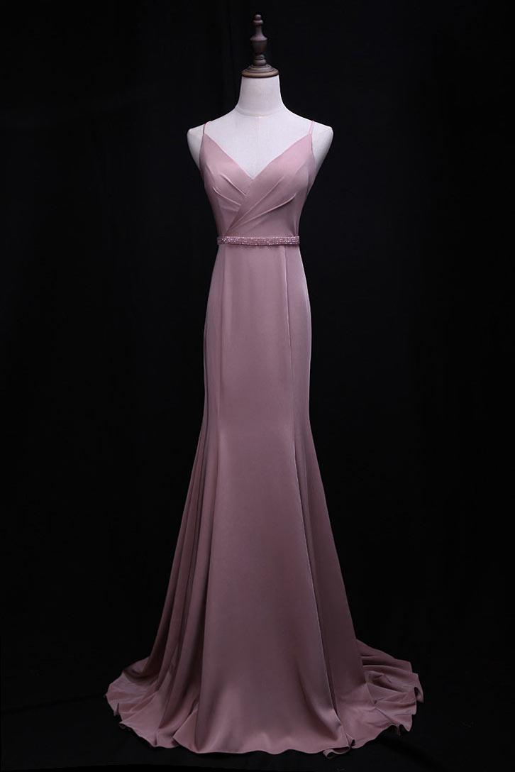 robe de soirée rose sirène avec bretelle fine