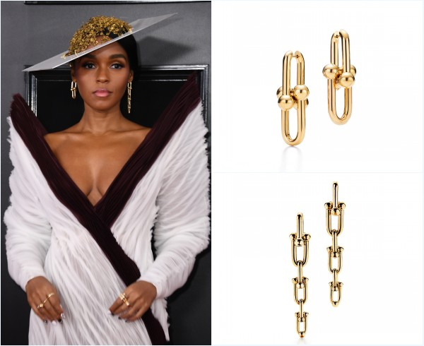 chapeau et boucles d'oreilles de Janelle Monae aux Grammys awards 2019