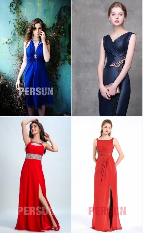 robes courtes col en V et robes longues fendue pour rendez-vous