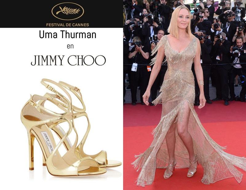 Uma Thurman en sandales Lance signées Jimmy Choo