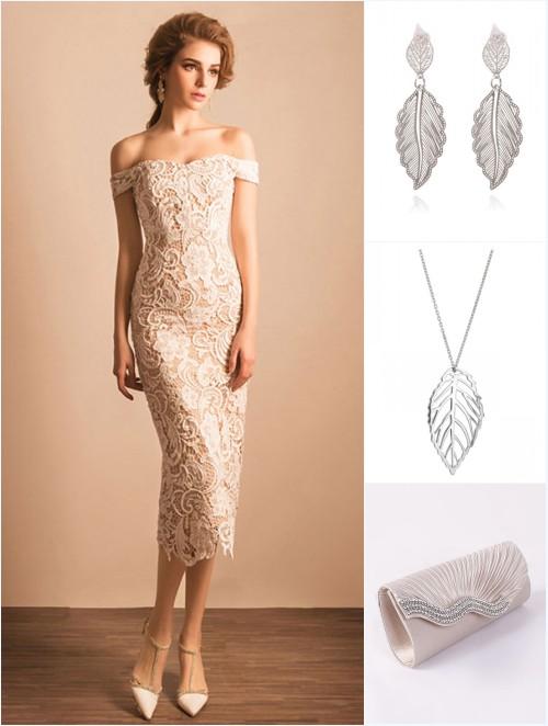 robe dentelle fourreau, bijoux et sac pour un diner en amoureux
