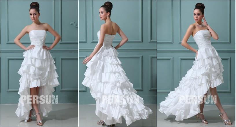 robe de mariée bustier vague style bascule jupe à volants