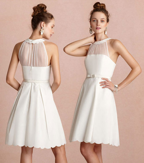 robe de cocktail blanche courte col feston
