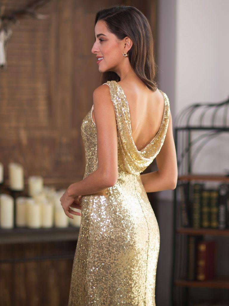 robe de soirée sequin dorée à dos drapé