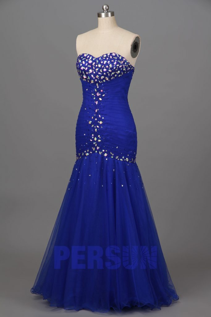 robe de soirée longue sirène bustier de bijoux multicolores et la jupe en organza