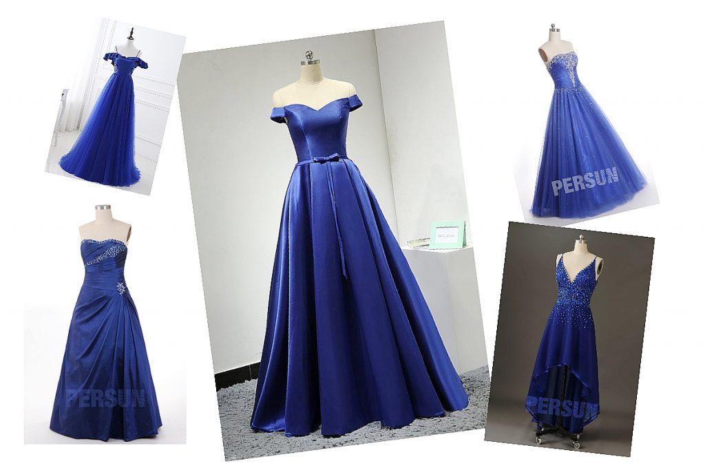 robes de soirée bleues longue différentes styles