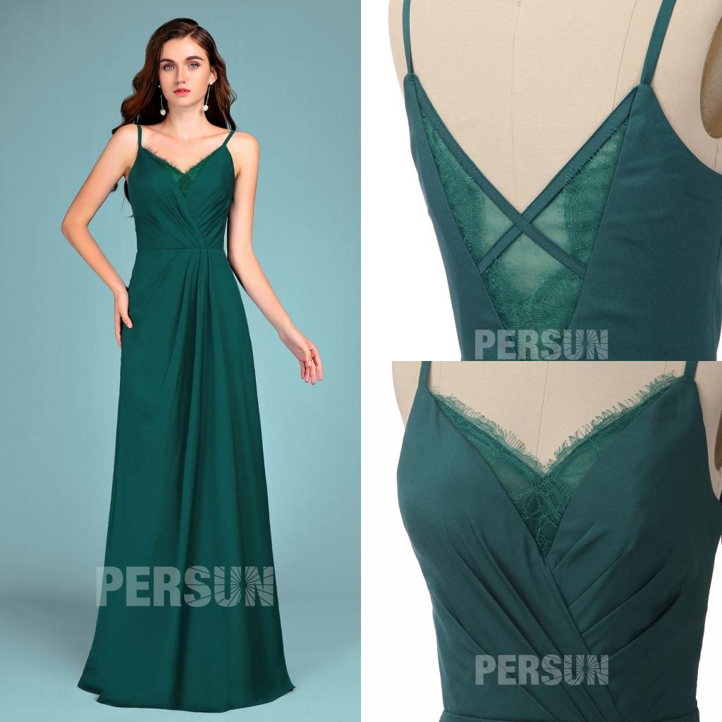 robe de soirée simple longue verte foncé col et dos décolleté en v en dentelle appliquée ornée de cils