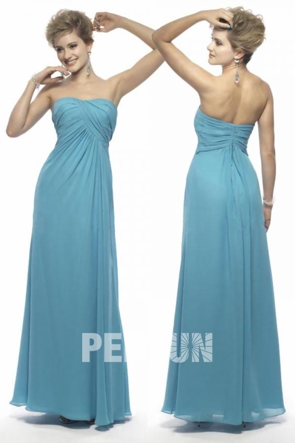 turquoise robe de cocktail longue bustier coeur drapé