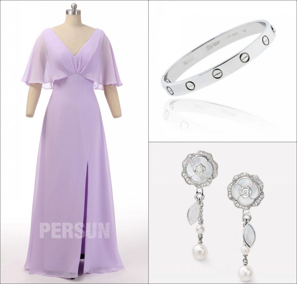 élégante robe de cocktail lilas longue col v à manche volant mi-longue avec fente latérale et des accessoires argentes