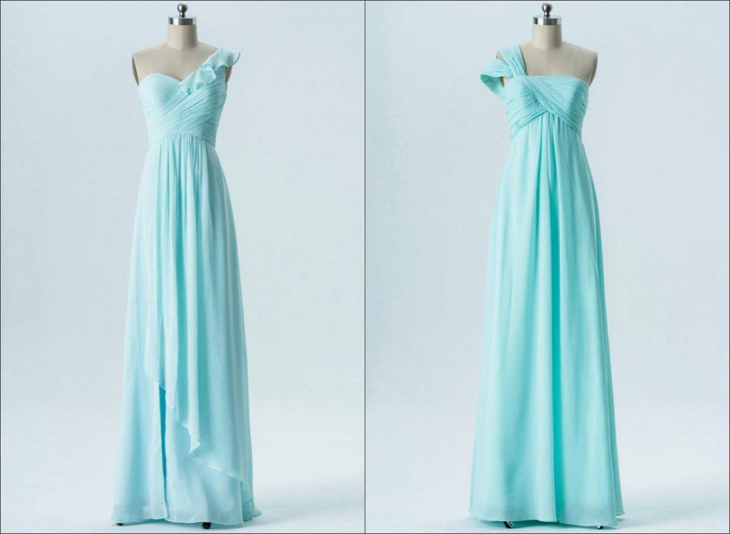 robe de cocktail turquoise longue  asymétrique bustier plissé :