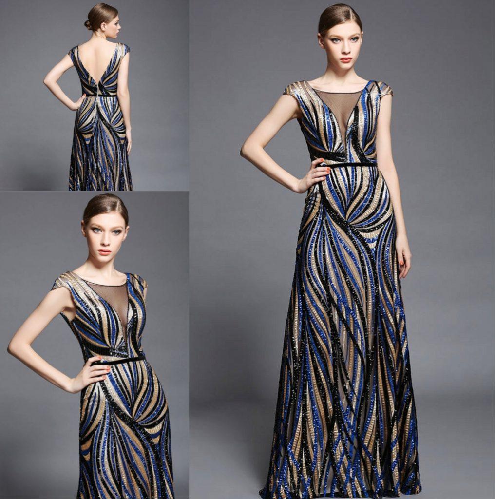 robe de soirée longue à rayures tricolore col et dos en V transparent manches courtes