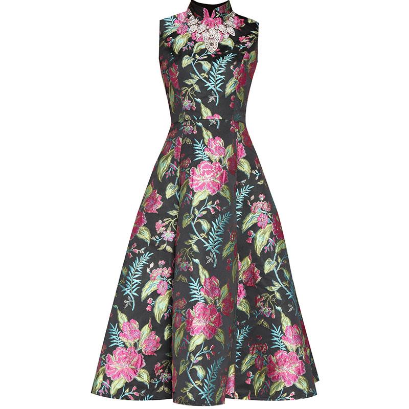 robe de cocktail mi-longue brodé fleur col montant