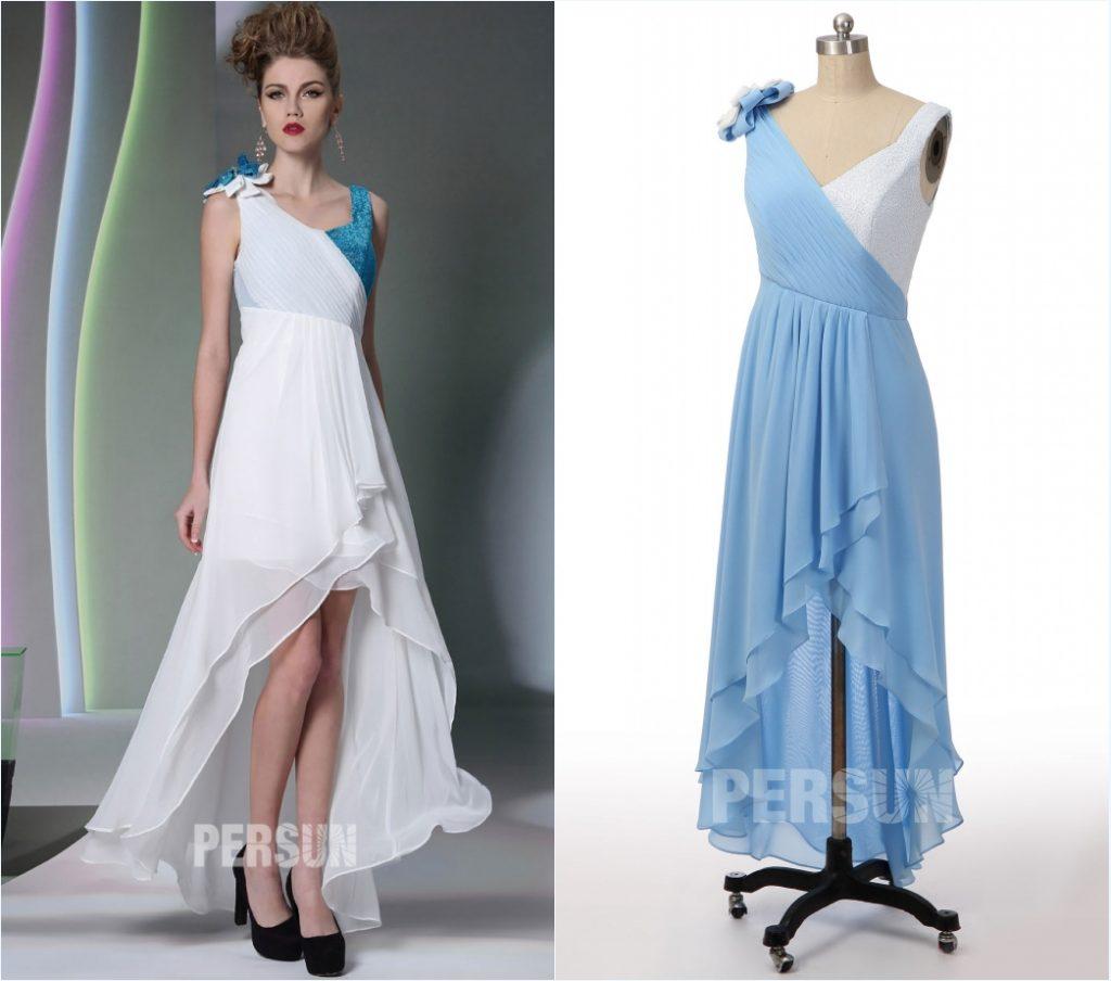 robe de cocktail courte devant longue derrière bicolore bustier plissé encolure v embelli fleur fait-main