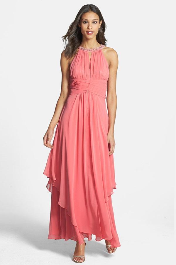 robe de cocktail rose col halter bustier plissé jupe irrégulière