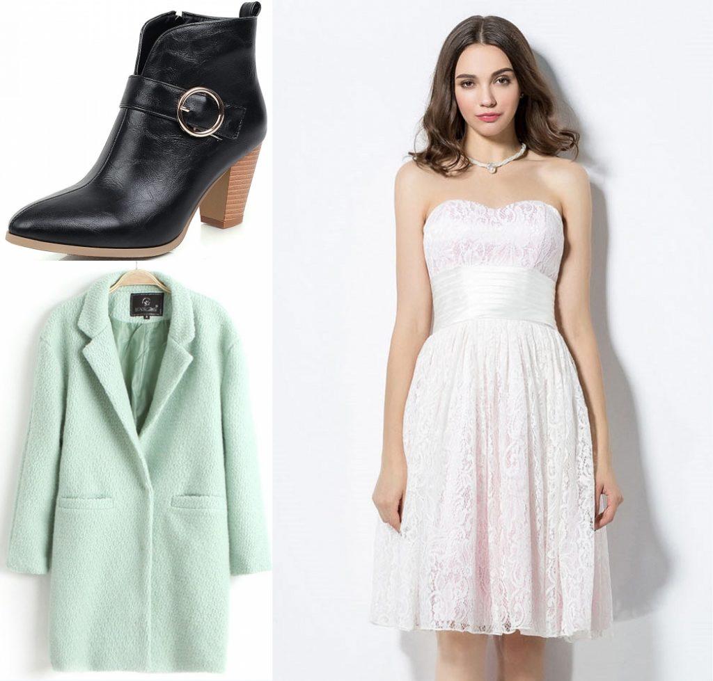 robe de cocktail courte blanche doublure rose en dentelle bustier coeur