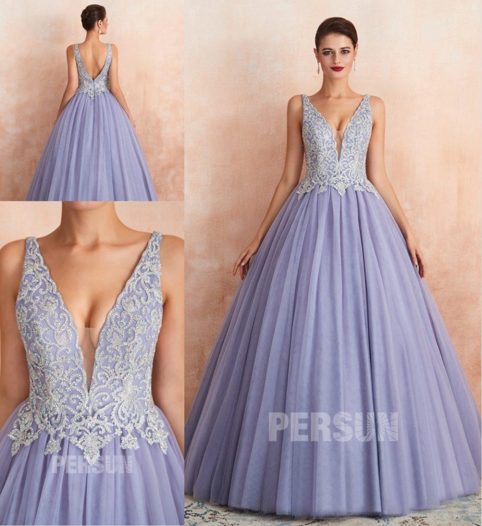robe de mariée princesse lavande dos nu col v plongeant bustier appliqué de dentelle florale