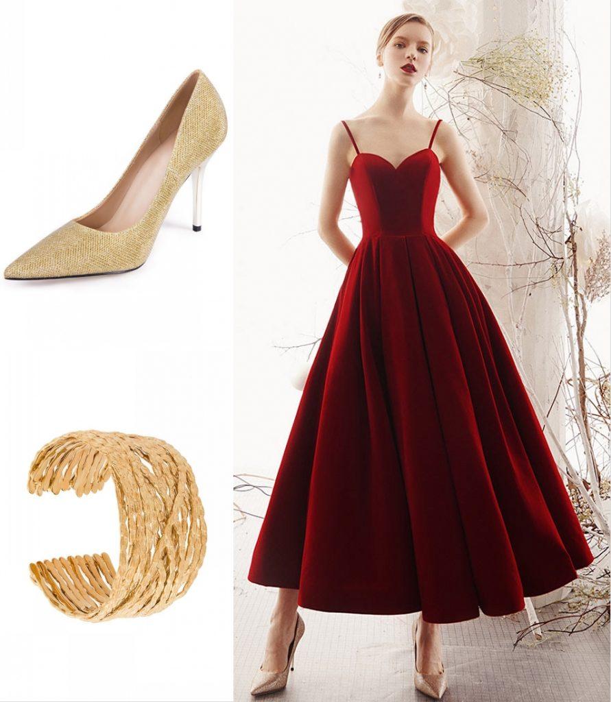 robe de soirée rouge bordeaux longue bustier coeur à bretelle fine en velours