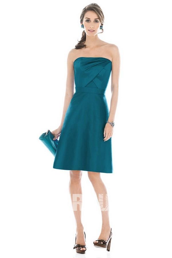 robe de soirée vert courte simple bustier droit