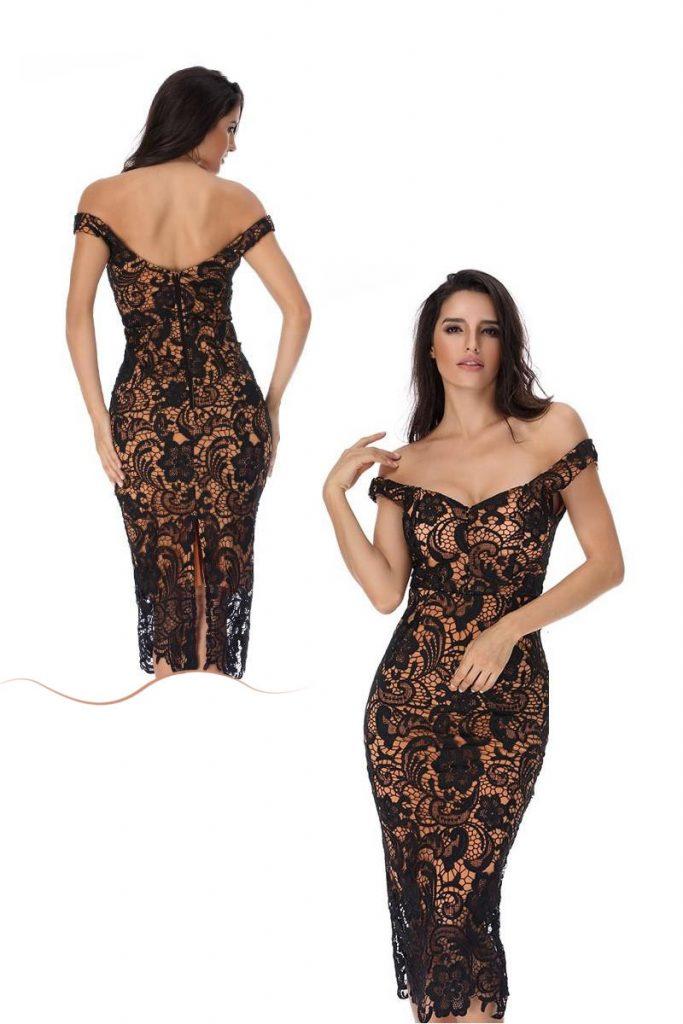 robe de cocktail fourreau courte en dentelle noire épaule dénudé