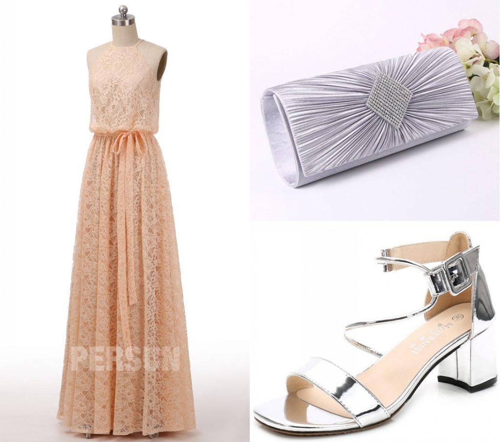 robe de soirée nude longue en dentelle avec ceinture noeud papillon