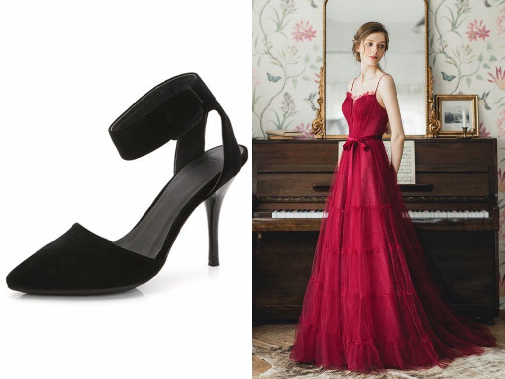 robe de soirée rubis longue doublure en paillette avec ceinture à bretelle fine