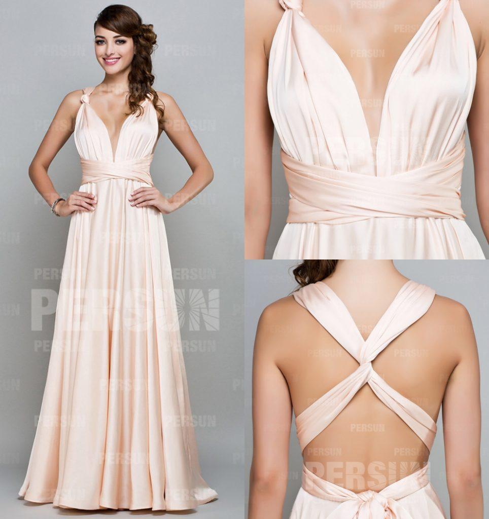 sexy robe de soirée longue col v plongeant bretelle entrecroisée