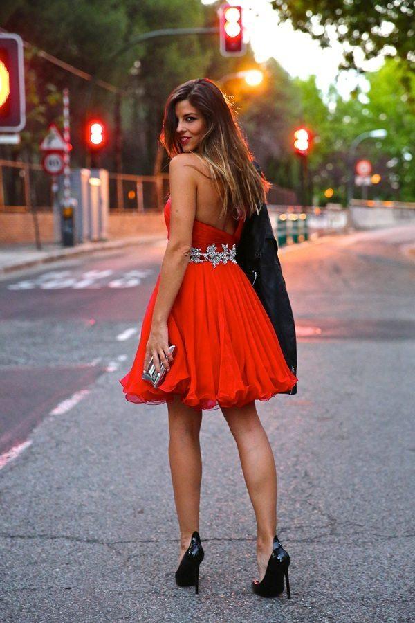 sexy robe de cocktail courte rouge pour saint valentin