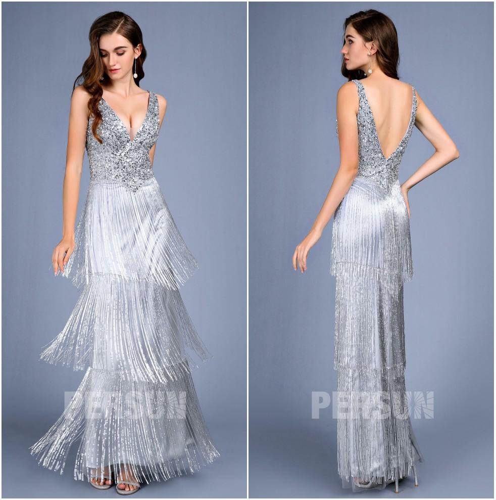robe de soirée sirène argenté col v haut en paillettes et jupe frangé