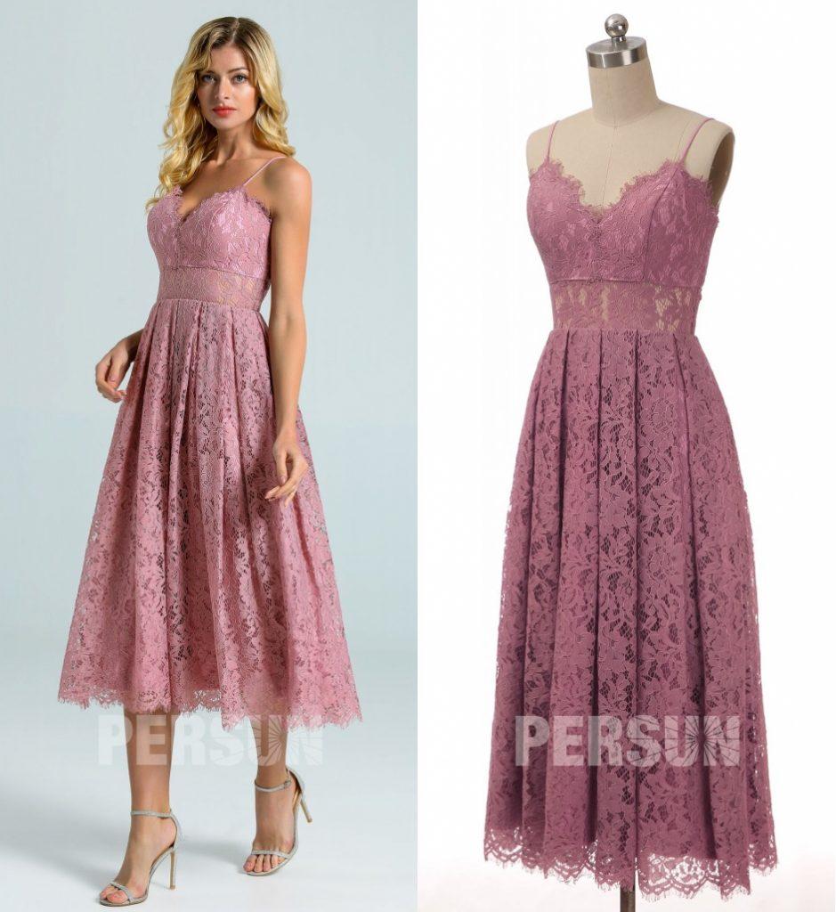 robe de cocktail courte rose en dentelle col v feston avec bretelle fine