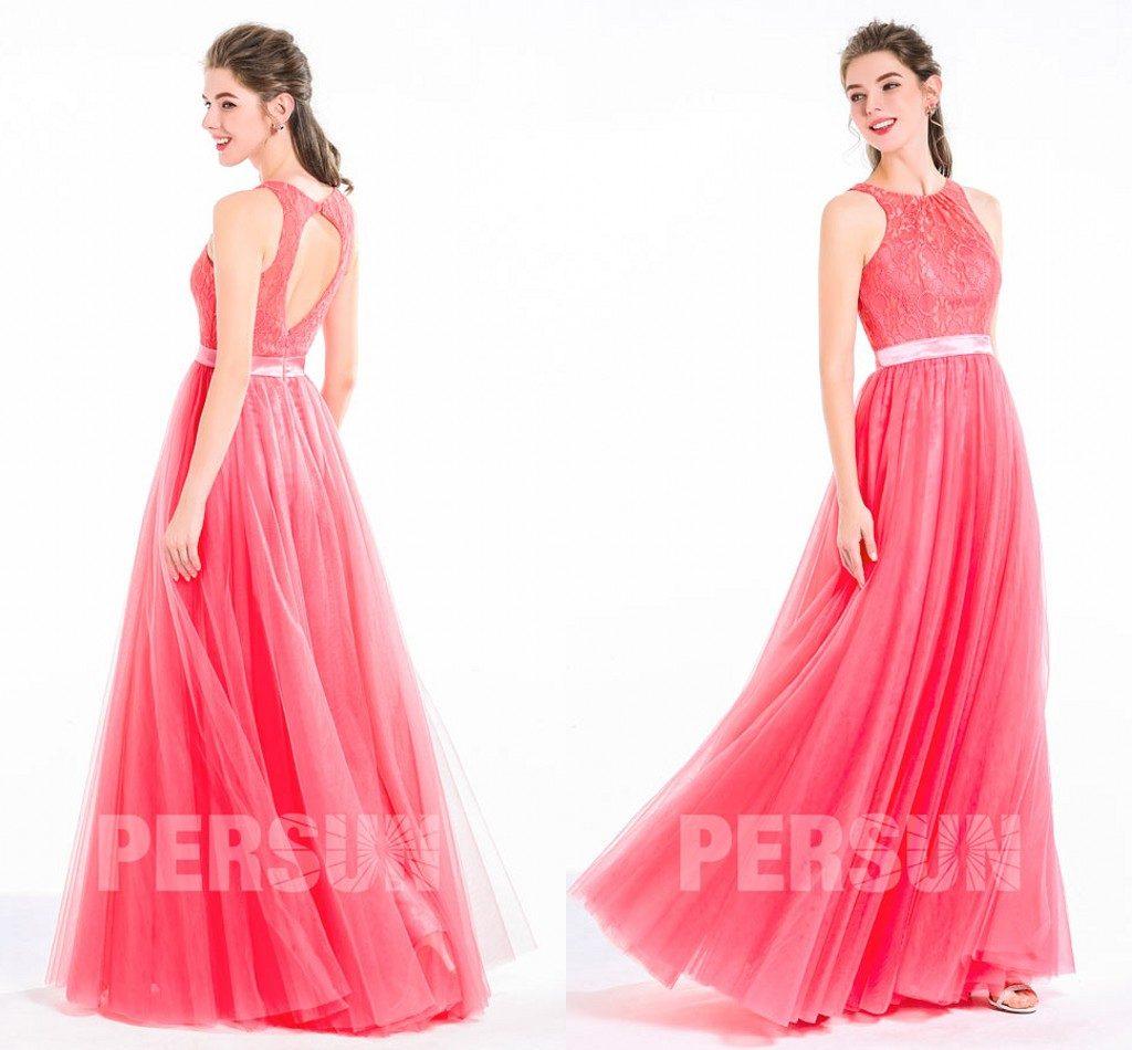 élégante robe de soirée longue corail en dentelle dos nu