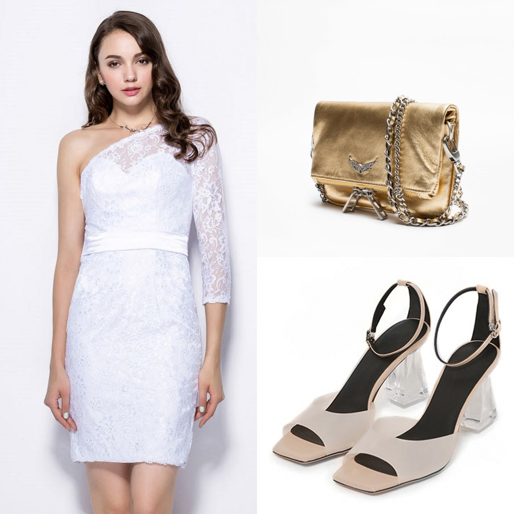 robe de cocktail blanche courte fourreau asymétrique en dentelle à manche