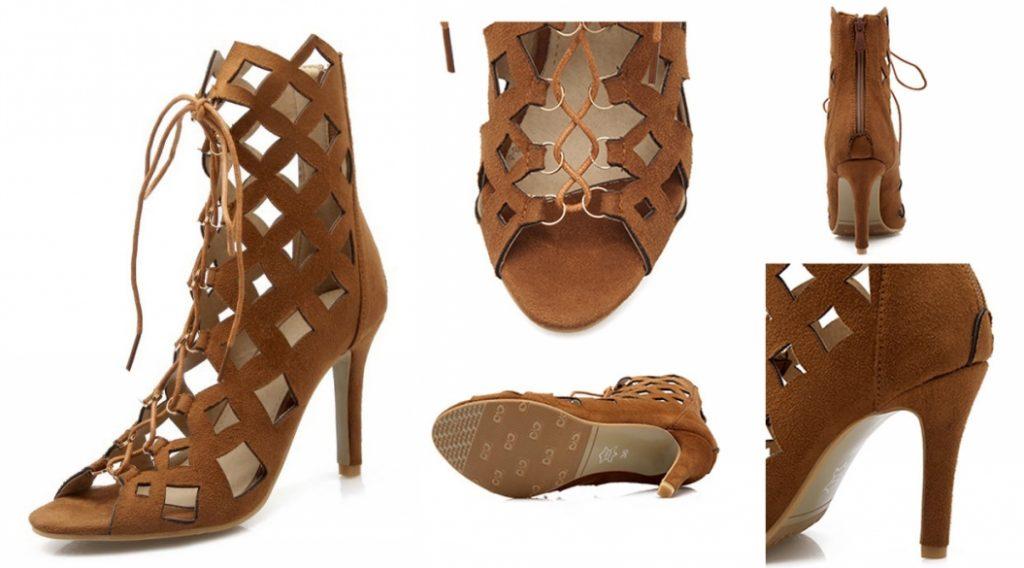 sandale gladiateur camel à lacet talon haut
