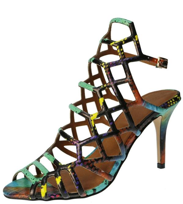 sandale gladiateur style tropical coloré à talon haut