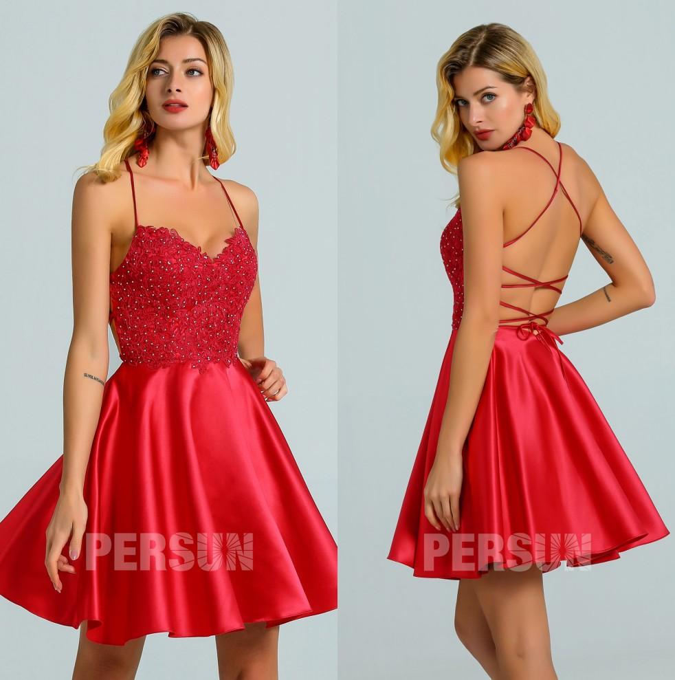 robe de cocktail sexy courte rouge dos ouvert à lacet bustier en dentelle appliquée