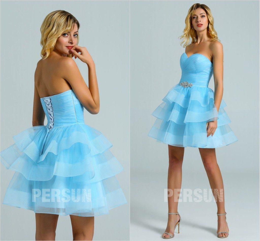 robe de cocktail courte bleu ciel bustier coeur jupe à patineuse
