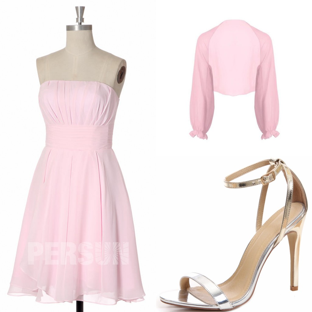 robe de cocktail rose courte simple bustier droit plisse