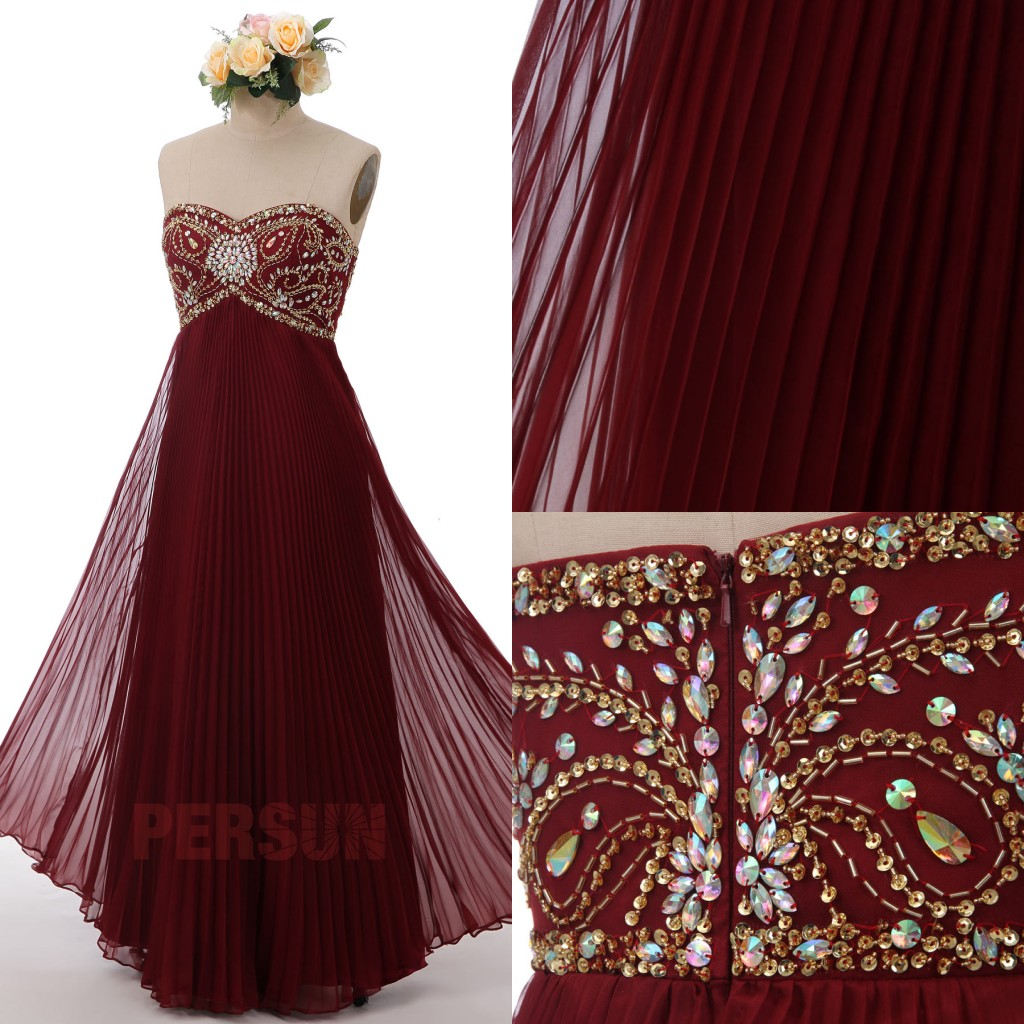 robe de cocktail longue bordeaux empire bustier coeur ornée de bijoux jupe drapé