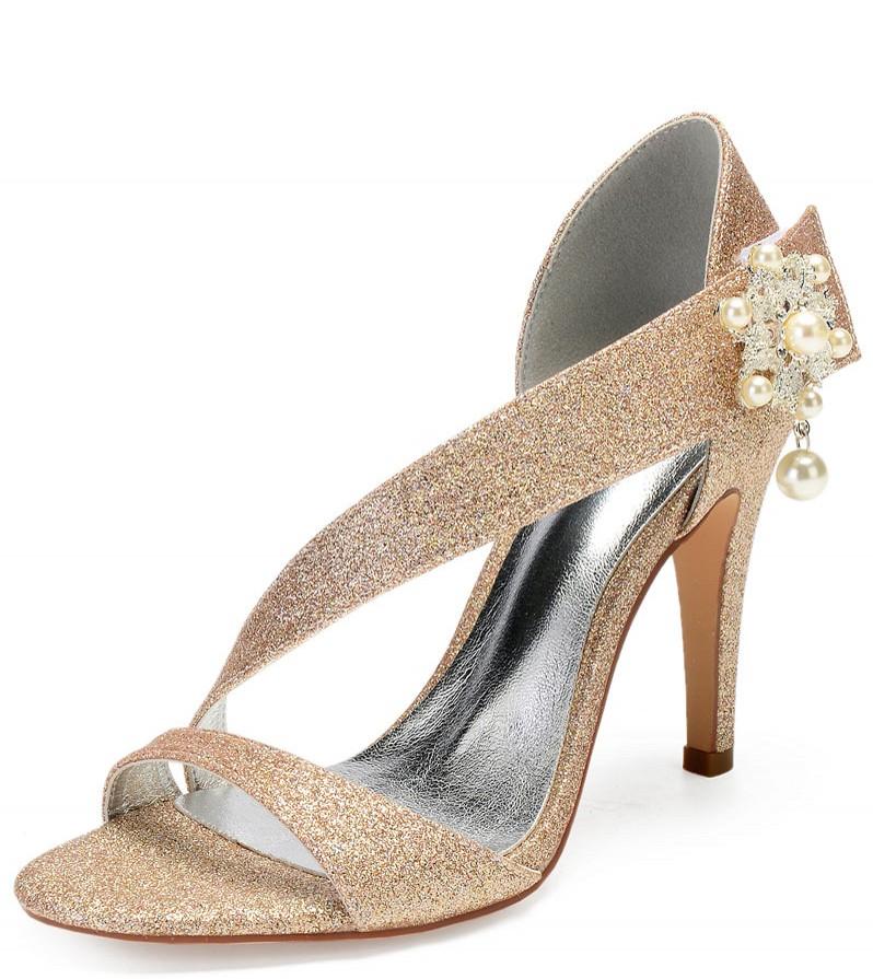 sandales à talon haut asymétrique paillettes dorée embelli de perle