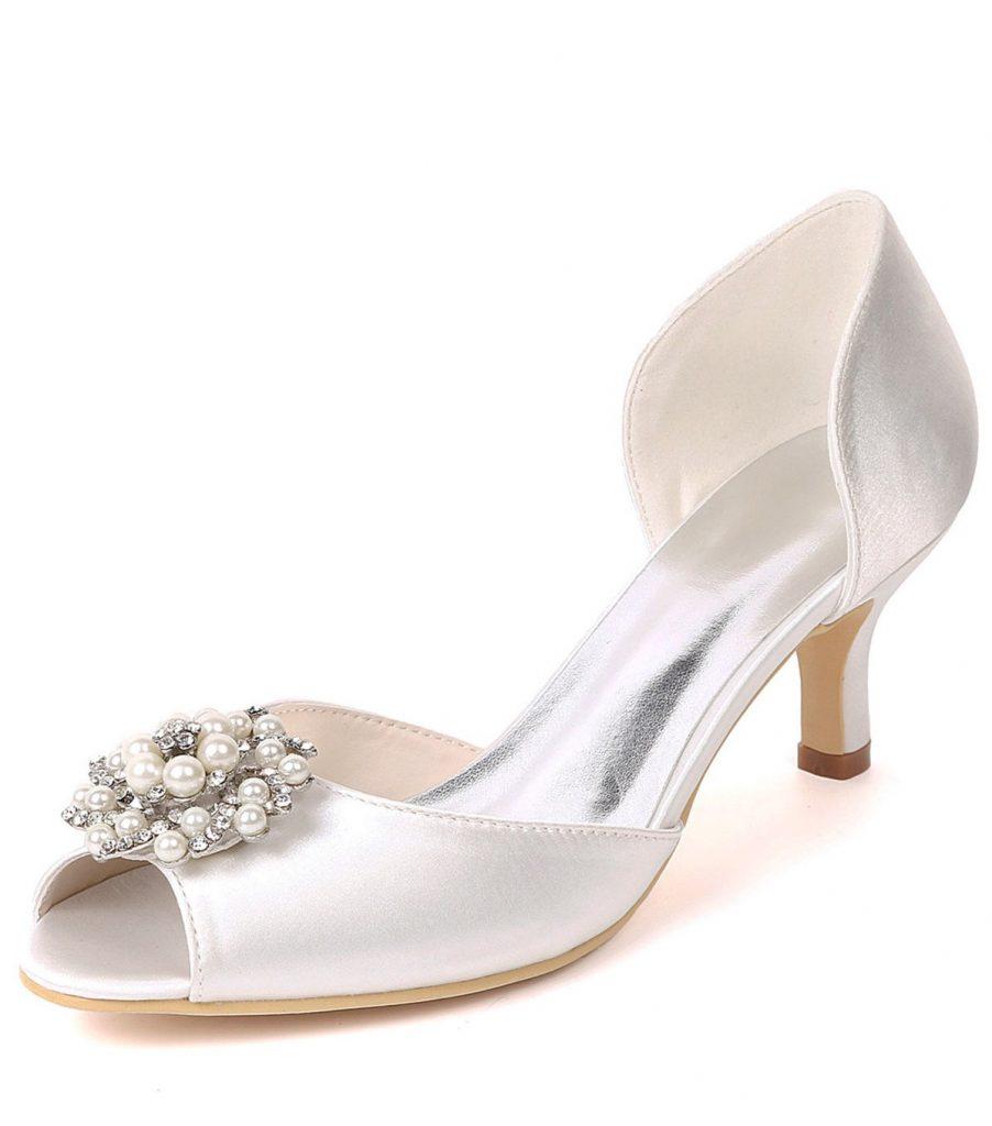 chaussure de mariée blanc bout ouvert embelli de strass à talon bas
