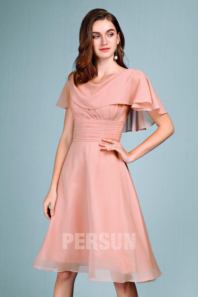 robe mère mariée courte rose carnation taille plissé avec cape