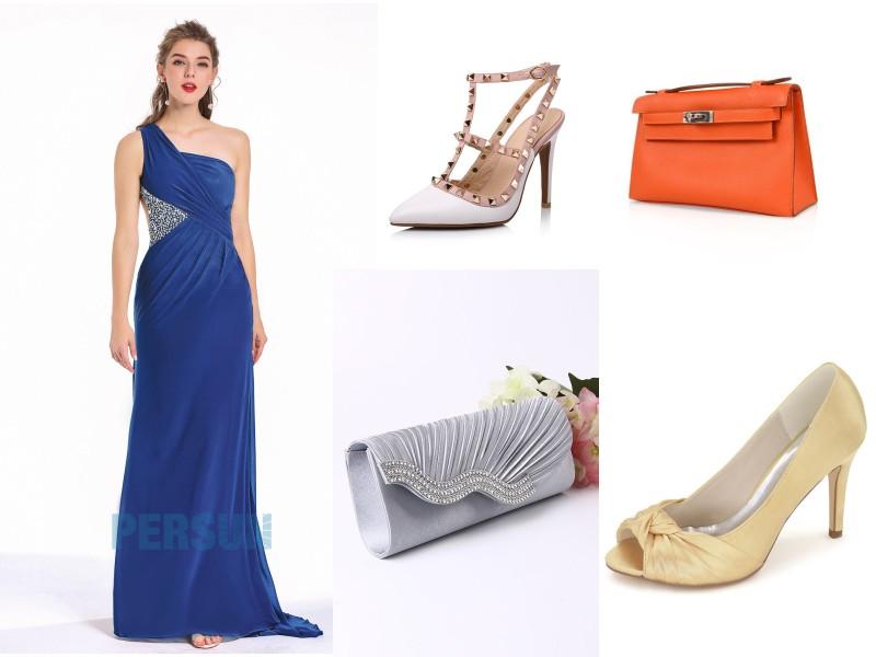 robe de soirée longue asymétrique bleu classique taille embelli de strass
