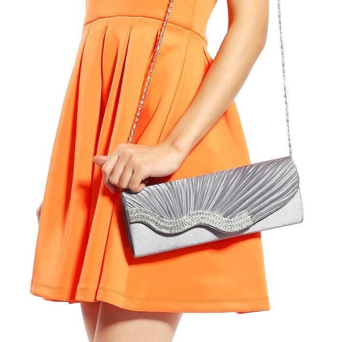 sac à main argenté plissé embelli de strass