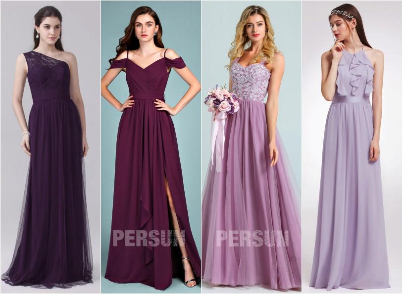 robe de soirée longue 2020 violette