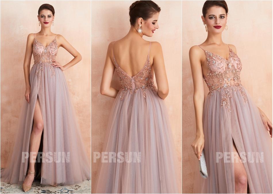 robe de soirée longue parme fendue sexy haut transparent ornée de bijoux