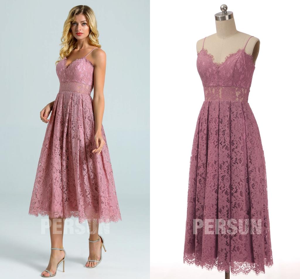robe de cocktail mi-longue rose en dentelle parme taille illusion avec bretelle fine