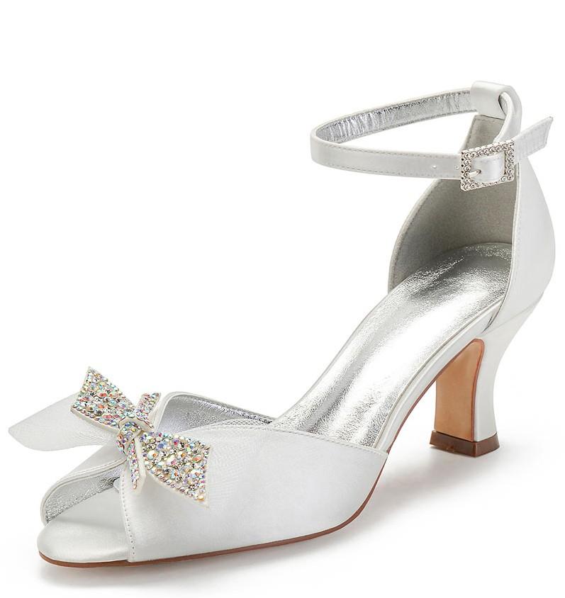 chaussure de mariée bout ouvert bride embelli de noeud
